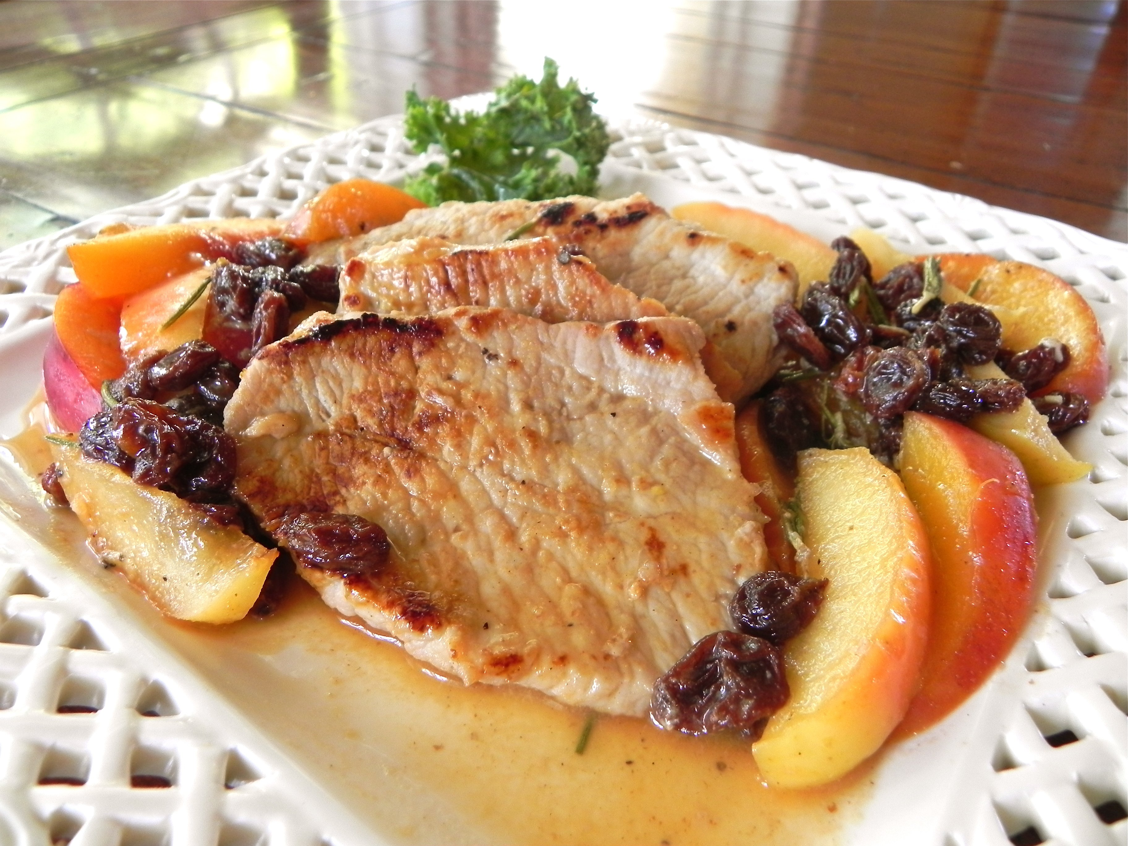 Dijon Pork Chops with Apples & Peaches