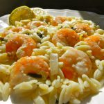 "A photo of ""Lemon Shrimp Orzo"" from an upcoming episode of ""Simply Delicious Living with Maryann."" The show is broadcast on PBS Television and in First Run TV Syndication. LIKE US on FACEBOOK and Visit the show's website & Maryann's blog at: http://SimplyDeliciousLiving.TV/ Photo by Maryann Ridini Spencer"