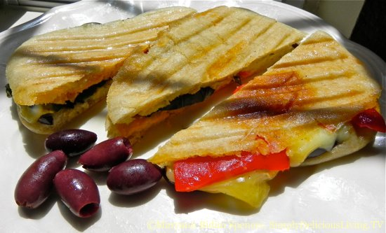 Grilled Eggplant, Cheese & Roasted Pepper Panini