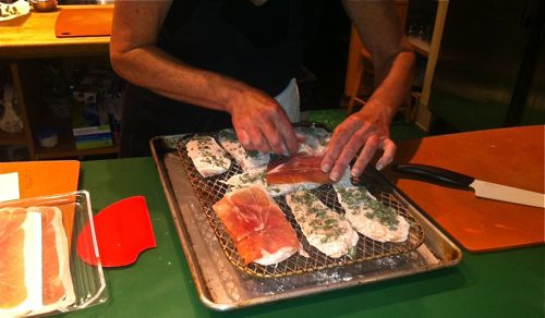 Cutlets are floured then topped with prosciutto - YUM!